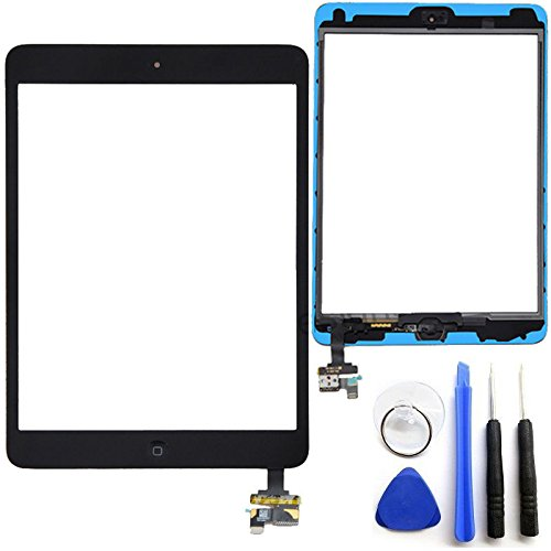 Pre-installed Adhesive Replacement with Tool Kit Camera Bracket Home Button OEM Black iPad Mini Touch Screen Digitizer Complete Assembly with IC Chip