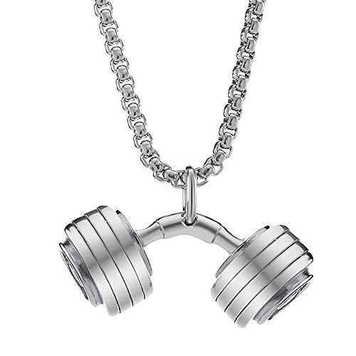 - Valily Curved Dumbbell Necklace Silver for Men Stainless Steel Gym Fitness Barbell Pendant Dumbbell Charm Sport Jewelry