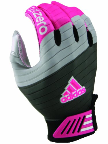 Gray Football Receiver Glove - Adidas AdiZero Smoke Football Receiver Glove (Grey/Silver/Pink, Medium)