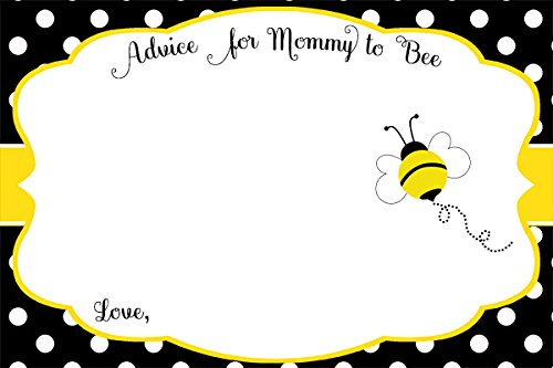 (Bee, Baby Shower, Advice for New Mom Cards, Advice for Moms, Advice for Parents, Neutral, Yellow, Black, Polka Dot, Buzz About, Team Green, Sprinkle, Bees, 24 Pack Printed Advice Cards)