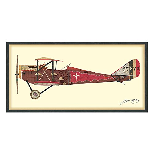 Empire Art Direct Antique Biplane #2 Airplane Dimensional Collage Handmade by Alex Zeng Framed Graphic Aircraft Wall Art, 25