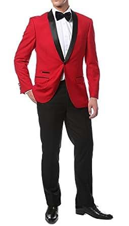 Ferrecci 36S Zonettie Mens Reno Red Black 2pc Slim Fit Shawl Tuxedo