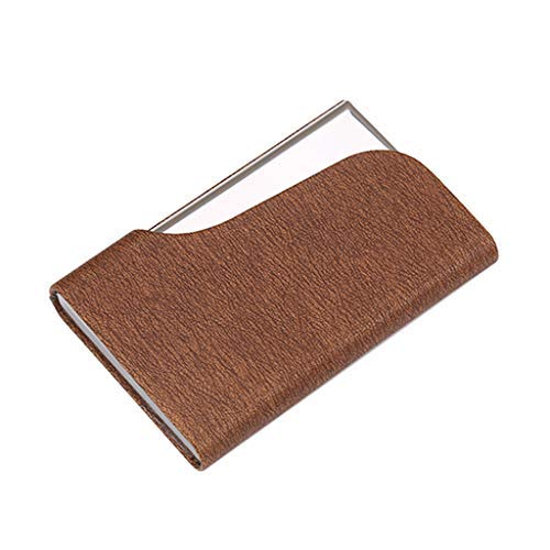 Wffo Men Women Creative Holder Metal Leather Box Cover Credit Business Multi Card Case Wallet 7 Colors Optional (Coffee)