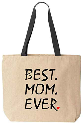 - BeeGeeTees Best Mom Ever Reusable Grocery Shopping School Office Natural Cotton Canvas Tote Bag