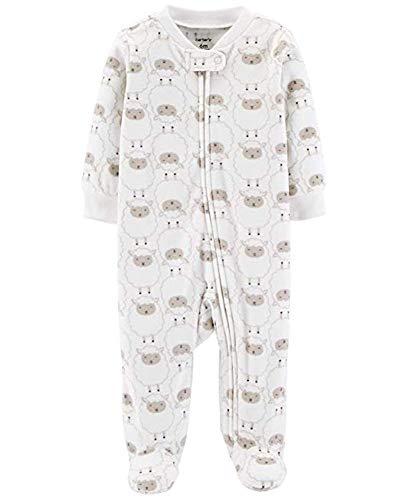 Carter's Baby Boys' Lamb Zip-Up Fleece Sleep and Play, Ivory