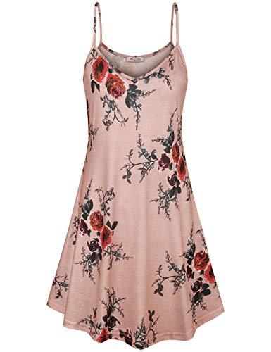 (SeSe Code Floral Dress,A Line Dresses Casual Spaghetti Tops Fashional Round Neck Hawaiian Drapes Flared Hemline Summer Daily Wear Cami Tunic Pink Medium)