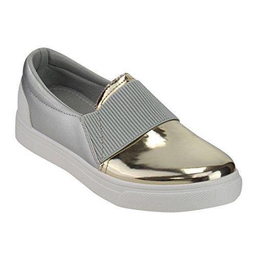 Gold Metallic Platform (Refresh IE21 Women's Fabric Metallic Slide In Fashion Platform Sneakers, Color:CHAMPAGNE, Size:8.5)