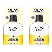 Crema hidratante facial de Olay Complete Lotion Crema hidratante facial para piel combinada /grasa con SPF 15, 6 Fl Oz (paquete de 2)