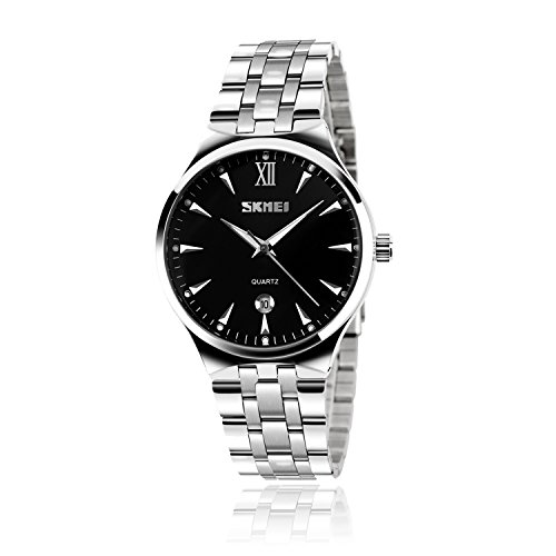 Watches Mens Analog Quartz Watch, Wrist Dress Stainless Steel Band Watch Business Classic Waterproof Watches Roman Numeral Wristwatch – Black