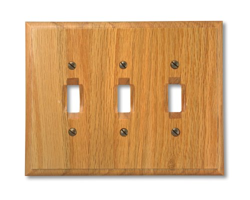 (Amerelle 4025TTT Traditional Wood Triple Toggle Wallplate, Light Oak)