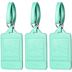 Luggage Tags, 3 Pack Teskyer Premium PU Leahter Luggage Tags Privacy Protection Travel Bag Labels Suitcase Tags-Green
