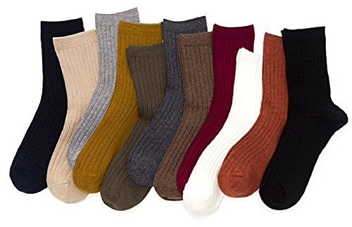 Price comparison product image Lian LifeStyle Big Girl's Women's 4 Pairs Combed Cotton Crew Socks Casual Striped One Size HR1752-4P4C-05 Assorted