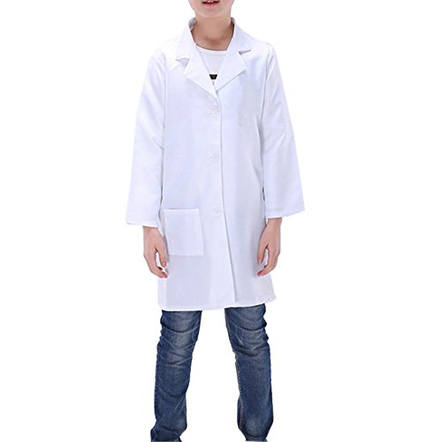 ZILucky Childrens Boys Girls White Science Doctor Lab Coat Unisex Fancy Cosplay Dress Up Party Costume (10-12)