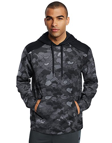 Champion Men's Tech Fleece Printed Pullover Hoodie: Stormy Night Faster Asteroid/Black, L
