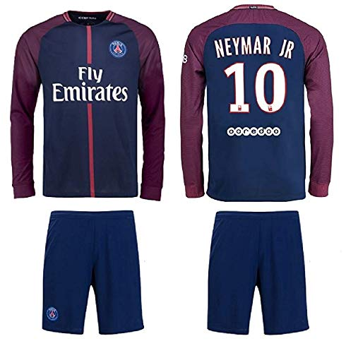 10cc034d96c33 Fan Kitbag Neymar Jr #10 PSG Home Long Sleeve Soccer Jersey & Shorts Paris  Saint Germain Youth Kids Home ✓ Premium Gift Picture Backpack