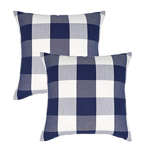 Selcet 18 x 18In Farmhouse Decorative Square Throw Pillow Covers Buffalo Check Plaid Cushion Cases Pack of 2