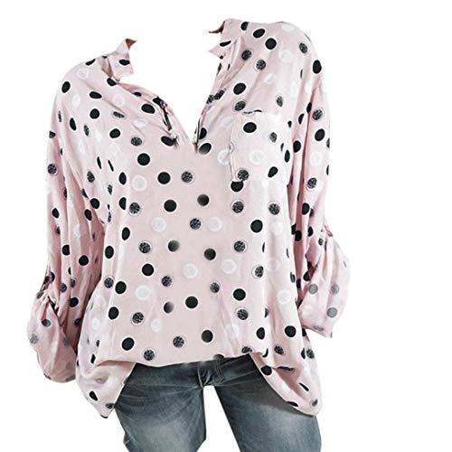 Longues Loisir Grand Taille XXXXXL 8 de Tee Shirt Couleur Lache Femme Sexy Chemise Pois t Blouse pour Femme Top Rose S Haut Manches Imprim T Guesspower Shirt Chic xF177a