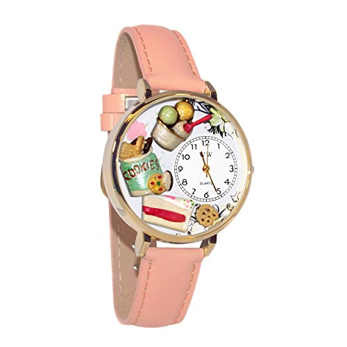 Whimsical Watches Women's G0310014 Unisex Gold Dessert Lover Pink Leather And Goldtone ()