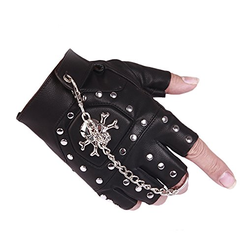 (ORVR PU Leather Black Stud Fingerless Biker Punk Gothic Driving Cycling Gloves with Skull)