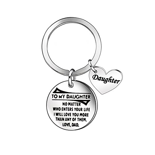 - Niceter Daughter Jewelry Gifts - Keychain Key Ring Chain Gift for Daughter Children Heart Shape Stainless Steel Pendant