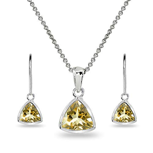 Citrine Earring Pendant - Sterling Silver Citrine Trillion Bezel-Set Pendant Necklace & Dangle Earrings Set for Women, Teen Girls