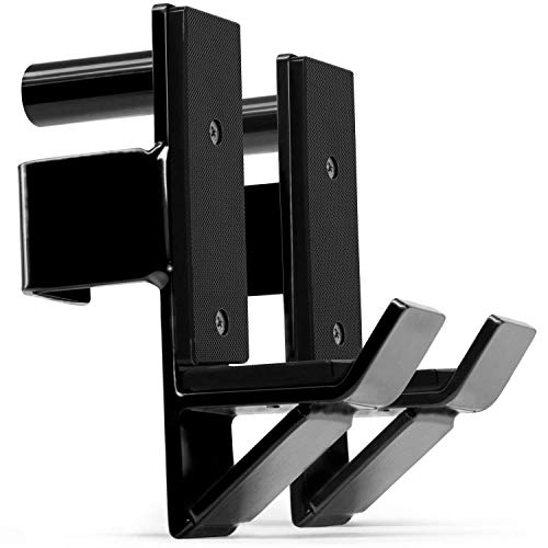 """RIGERS J-Hooks Barbell Holder Attachment Pair for Power Rack - Fit Most 2"""" x 2"""" Square Tube & Easy to Install (Black)"""