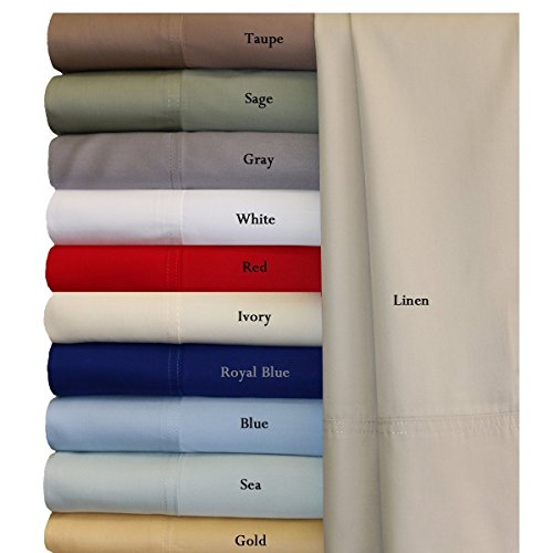 100% Bamboo Bed Sheet Set - Top Split King, Solid Blue - Super Soft & Cool, Bamboo Viscose, 4PC Sheets