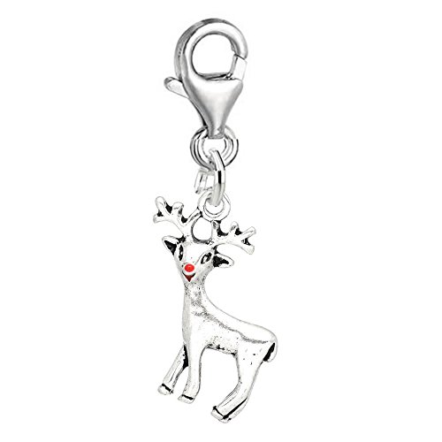 SEXY SPARKLES Christmas Reindeer with Red Nose Charm for European Clip on Jewelry with Lobster (Pugster Silver Brooch)