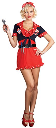 [Dreamgirl Womens Betty'S Full Service Mechanics Outfit Fancy Dress Sexy Costume, XL (14-16)] (Sexy Mechanic Outfit)