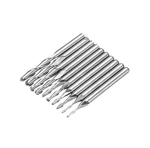 AtFipan 10pcs 1-3.175mm 1//8 Inch Shank Carbide Ball Nose End Mill 2 Flutes CNC Cutting Tool
