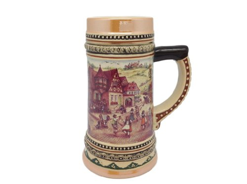Ceramic Beer Stein with German Village Dancers .5Liter