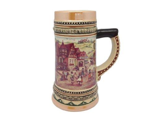 German Ceramic Beer (Ceramic Beer Stein with German Village Dancers .5Liter)