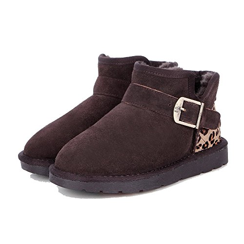 AgooLar Womens Frosted Round Closed Toe Assorted Color Ankle-High Low-Heels Snow-Boots Brown Bocl4a