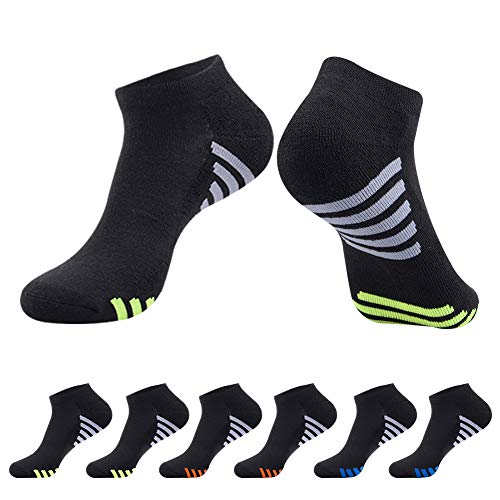 Mens Athletic Low Cut Ankle Socks Cushioned Running Sports Sock for Men 6 Pack,Black,Sock Size 10-13