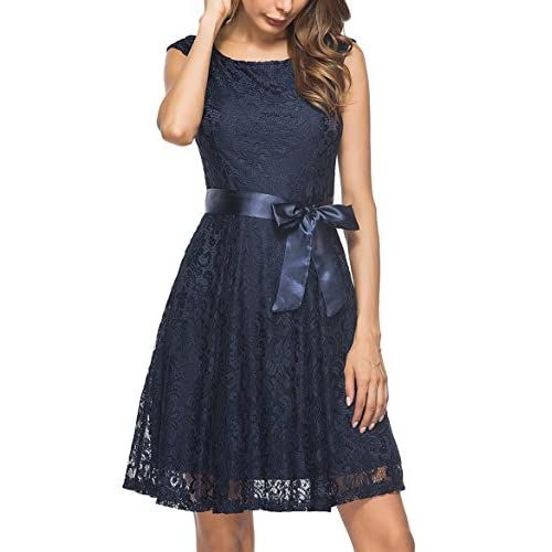 Hot Berydress Women's Short Sleeve V-Back Belted Floral Lace Cocktail Dress for cheap