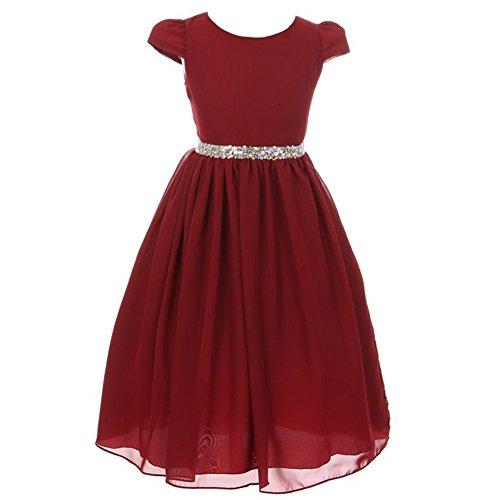 Kiki Kids Big Girls Burgundy Chiffon Rhinestone Waist Christmas Dress 10 from Kiki Kids