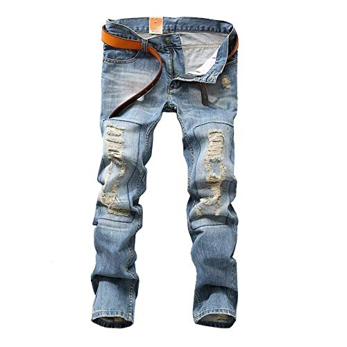 Slim Abbigliamento Uomo Alla Holes Pantaloni Hellblau Fit Da Ripped Jeans Moda Denim Skinny Dritti Elasticizzato In znxIUwf