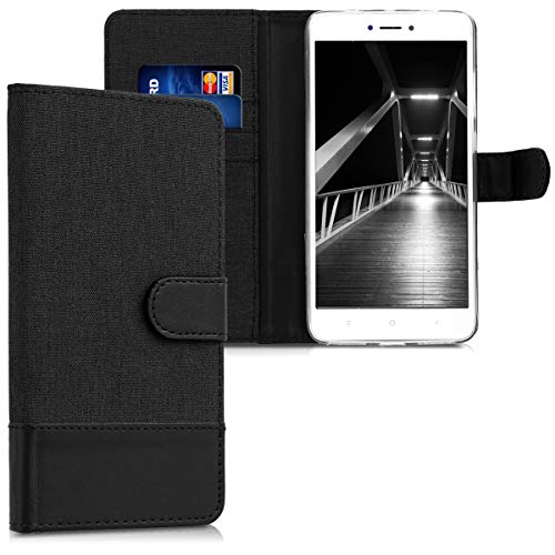 kwmobile Wallet Case for Xiaomi Redmi Note 4 / Note 4X - Fabric and PU Leather Flip Cover with Card Slots and Stand - anthracite black