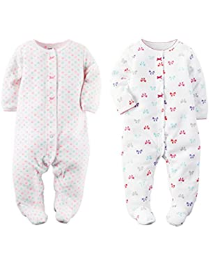 Baby Toddler Girl's 2 Pack Fleece Footed Pajama Set