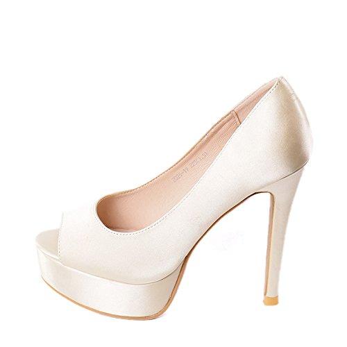 Fish Heel Leisure Work MDRW Spring Sexy Shoes Fine Ladies Platform Elegant 37 Lady Beige 12Cm Waterproof Olici Mouth Single Heels wRPY1Iqw