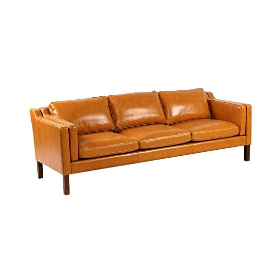 "Kardiel Monroe Mid-Century Modern Sofa 3 Seat, Tan Aniline Leather - Brand: KARDIEL; Frame: Traditional hardwood box frame construction; Seat Platform: Metal Sinuous No Sag ""S"" Coil suspension system encased in High Density Foam; Foam Type: Multi density foam seat and back cushions wrapped in silk layer provide comfort and cushion structure memory Down Feather Seat: Heavy Multi-density foam core topped with a plush quilted down top layer; Seat Cushion Style: Fitted removable seat, back and arm cushions; Cushion feature: Zippered back and seat cushions Leather Type: 100% upholstered in Genuine Top Grain Premium Soft Aniline Leather; Stitch Edge Type: Piping in Top Grain Premium Soft Aniline Leather - sofas-couches, living-room-furniture, living-room - 41l5uSp3mxL. SS570  -"