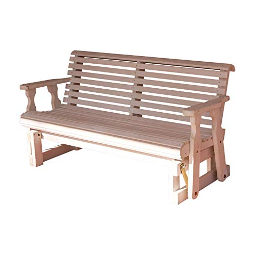 (CAF Amish Heavy Duty 800 Lb Roll Back Pressure Treated Porch Glider (4 Foot, Semi-Solid White Stain))