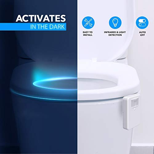 LumiLux Advanced 16-Color Motion Sensor LED Toilet Bowl Night Light, Internal Memory, Light Detection, White