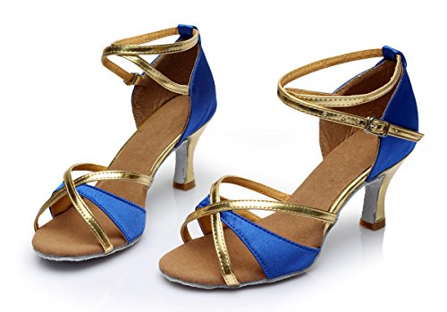 Tacón Mujer tacón Alto Azul zapatos Para De 5cm Baile 34 Vesi medio Latino qUFgCxWw