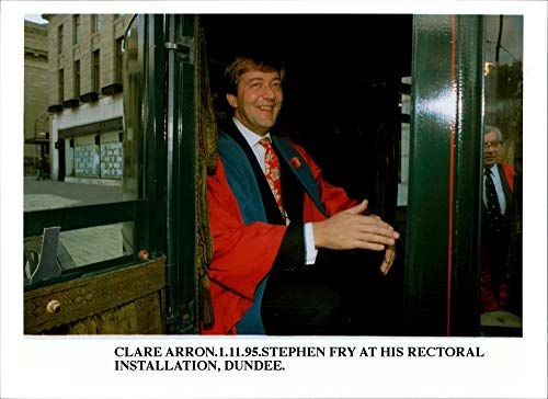 Vintage photo of Actor Stephen Fry as rector at Dundee University