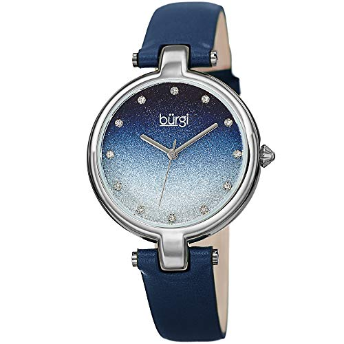 Burgi Genuine Leather Women's Watch - Sparkling