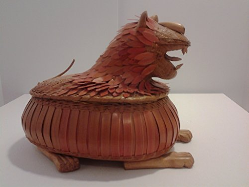 African Lion basket sculpture woven wood with enamel rare collectible africa tribe tribal handmade by A Quiet Street Gallery