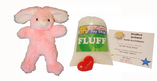 Bunny Kit With Sound (Make Your Own Stuffed Animal Mini 8 Inch Pink Soft Bunny Kit - No Sewing Required!)