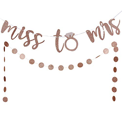 From Miss To Mrs Banner (Rose Gold Glittery Miss to Mrs Banner and Rose Gold Glittery Circle Dots Garland(25pcs Circle Dots) -Bachelorette Wedding Engagement Party Decoration)