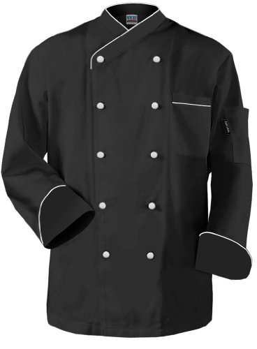 Shirt Chef Trim (Newchef Fashion Frenchy Chef Coat Black White Trim XS Black)